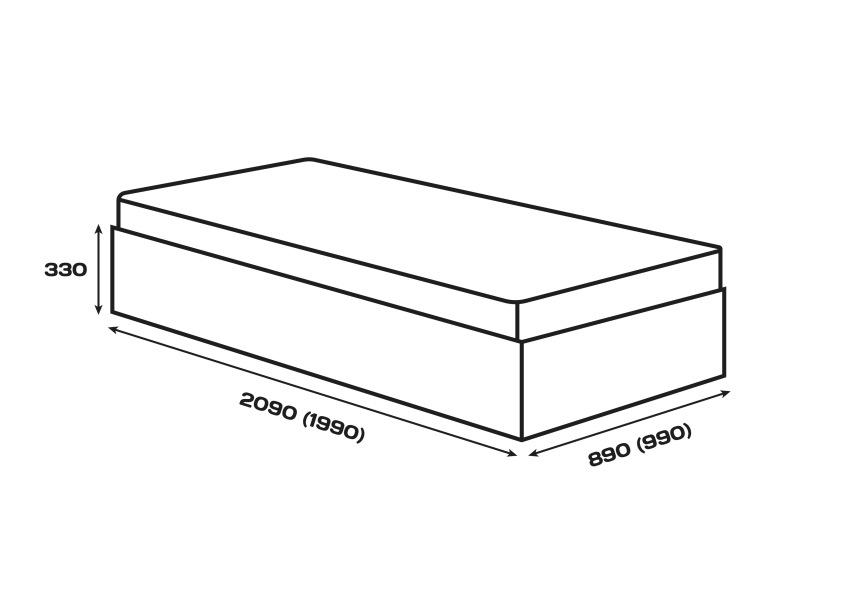 Габаритні розміри. Ліжко Сом'є «Юніті», модель А1