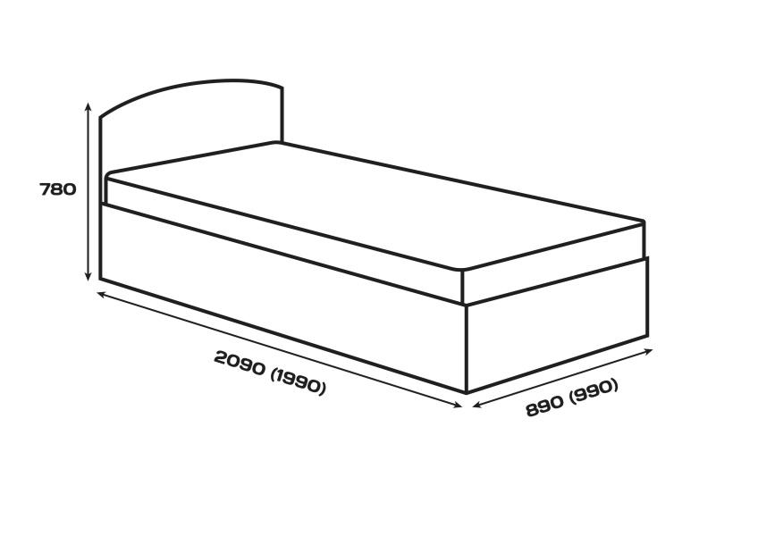 Габаритні розміри. Ліжко Сом'є «Юніті», модель А2