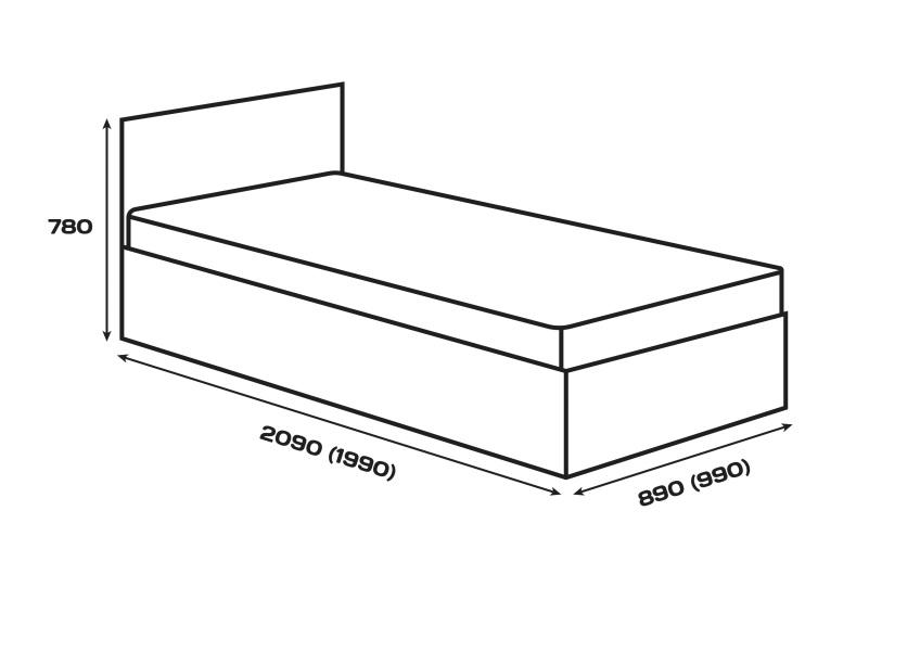 Габаритні розміри. Ліжко Сом'є «Юніті», модель А4