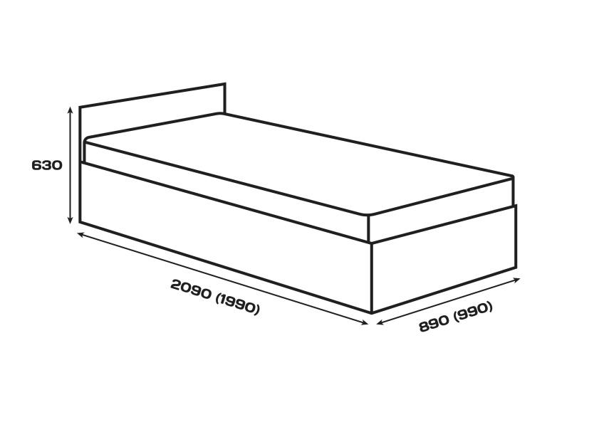 Габаритні розміри. Ліжко Сом'є «Юніті», модель А3, 90х200 (190) см
