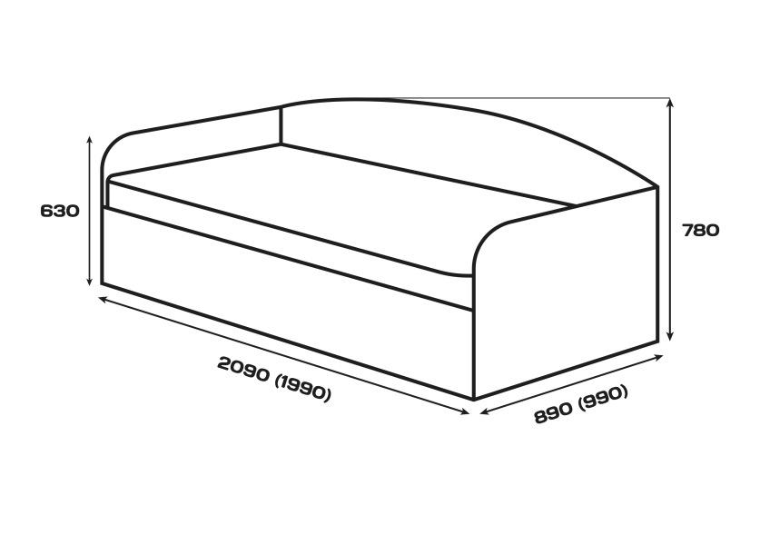 Габаритні розміри. Ліжко Сом'є «Юніті», модель С1