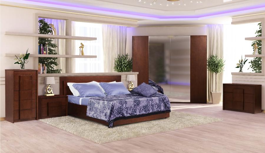 Спальний гарнітур «Евелін». Комод «Евелін», низький, темний горіх