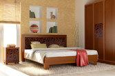 Кровать из дерева «Марго», 160х200 (190) см, темная