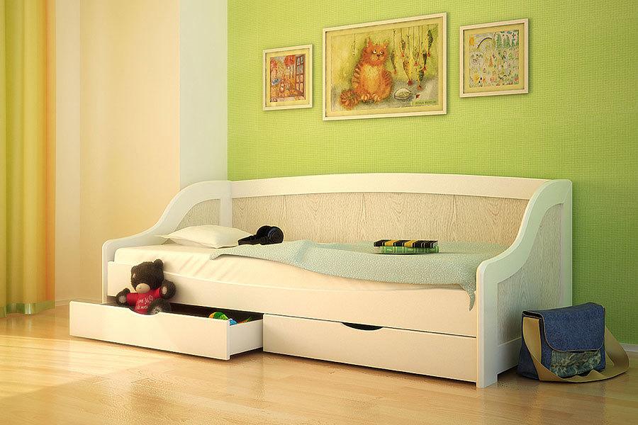 Ліжко з дерева «Оскар», 90х200 см, шпон дуб